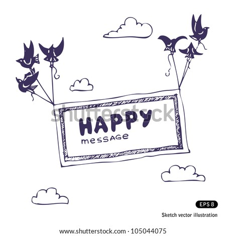 Banner with the birds in the sky. Hand drawn sketch illustration isolated on white background - stock vector