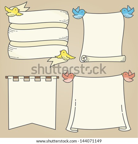 Banners and Birds - stock vector