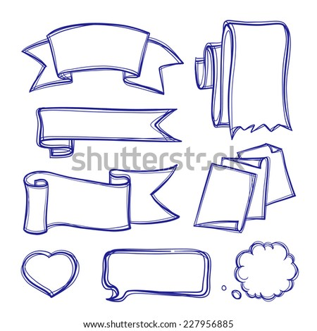 Banners and bubbles doodle icons set - stock vector