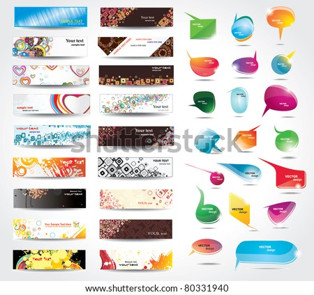 Banners and bubbles for speech on different topics - stock vector