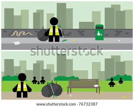 Banners depicting workers tidying up litter from two city areas - stock vector