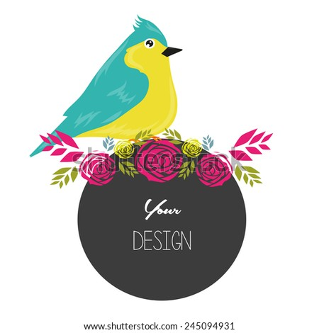banners, floral and bird frames and graphic elements - stock vector