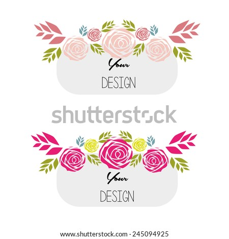 banners, floral frames - stock vector
