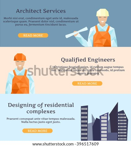 Banners for Bureau of Architecture, construction company - stock vector