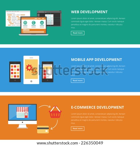 Banners for web: website, mobile app and e-commerce development. Vector illustration, flat style  - stock vector