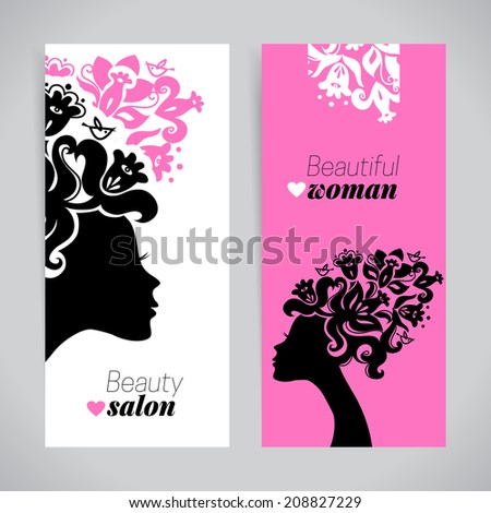 Banners of beautiful women silhouettes with flowers. Beauty salon design. Vector illustration - stock vector