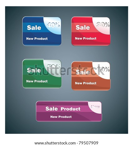 Banners of different colors for web design on a gray background