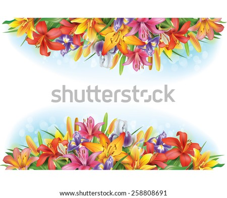 Banners of flowers  - stock vector