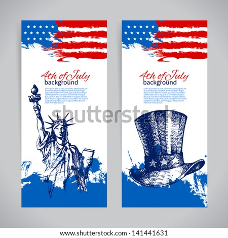 Banners of 4th July backgrounds with American flag. Independence Day vintage hand drawn design