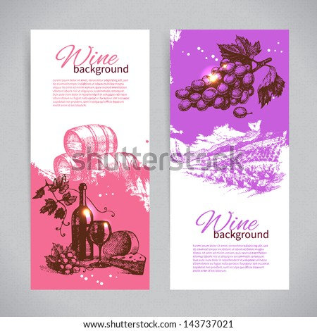 Banners of wine vintage background. Hand drawn illustrations. - stock vector