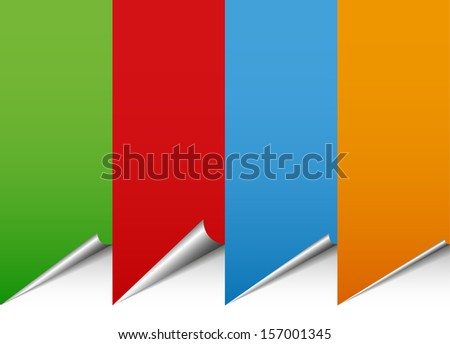 Banners, rollups with different shaped curls, peels. Home decoration, blank decorative elements, empty labels, stickers, wallpapers, peel vector illustration (background) - stock vector