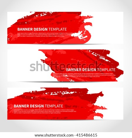 Banners. Set of trendy red vector banners template or website headers with watercolor imitation background. Advertising banners with red watercolor spots. Design for banner. card, header, background - stock vector