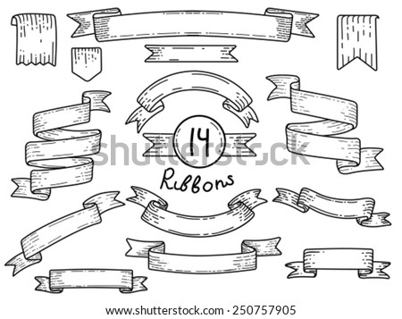 Banners set of 14 vintage vector ribbons hand drawn - stock vector