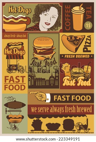 banners set on fast food in retro style - stock vector