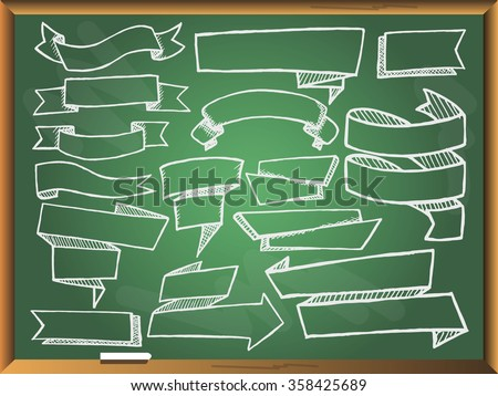 Banners set on green chalkboard. Free hand drawn. Vector illustration.