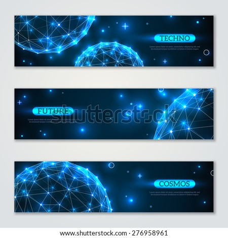 Banners set with wireframe polygonal elements. Shining spheres with connected lines and dots. Connection Structure. Geometric Modern Technology Concept. Abstract molecules design. Medical background - stock vector