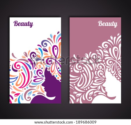Banners with abstract woman silhouette. Vector illustration.  - stock vector