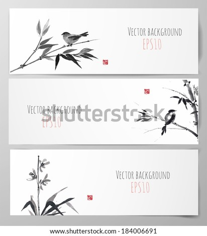 Banners with bamboo, orchid and bird in sumi-e style. Vector illustration. Traditional Japanese painting. Hand-drawn with ink.  - stock vector