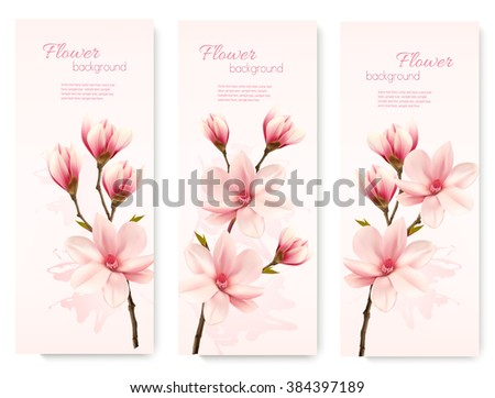 Banners with beautiful cherry blossom flowers. Vector. - stock vector