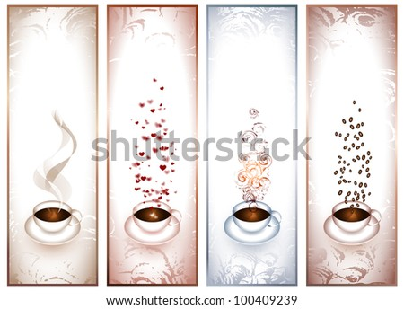 banners with coffee cups - stock vector