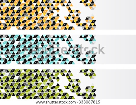 Banners with color triangles, set with three colors - stock vector