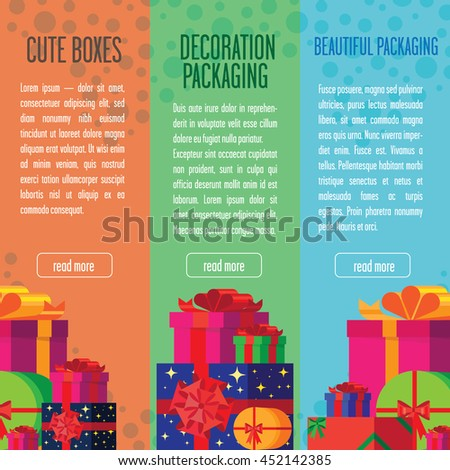 Banners with colorful, bright gift boxes. - stock vector