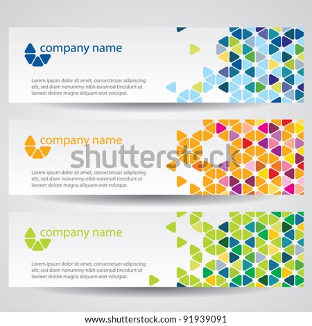 Banners with colorful cells - stock vector