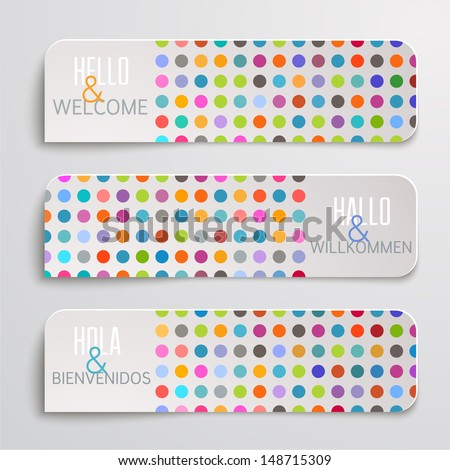 Banners with colorful dots pattern.  - stock vector