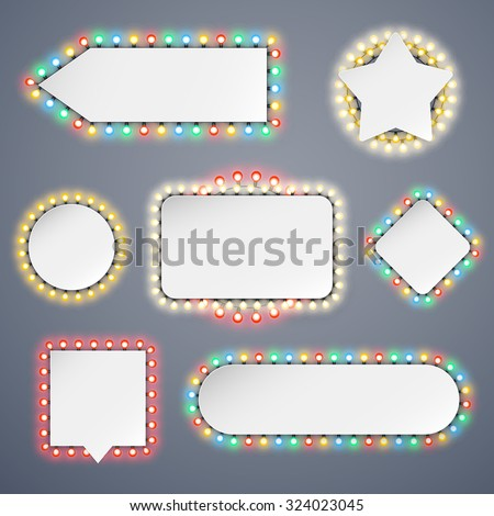 Banners With Electric Bulbs Decoration Set for Celebratory Design. Used pattern brushes included. - stock vector