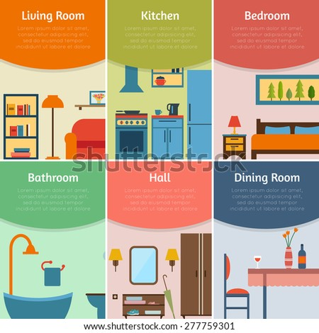 Banners with furniture icons for rooms of house. Flat style vector illustration. - stock vector