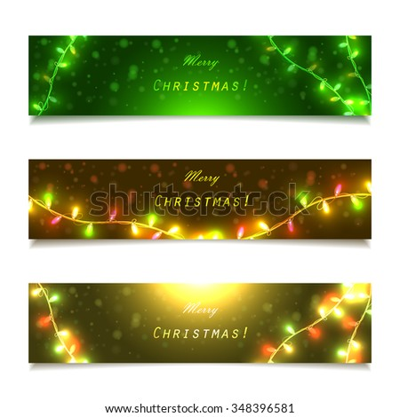 Banners with garlands and lights, vector