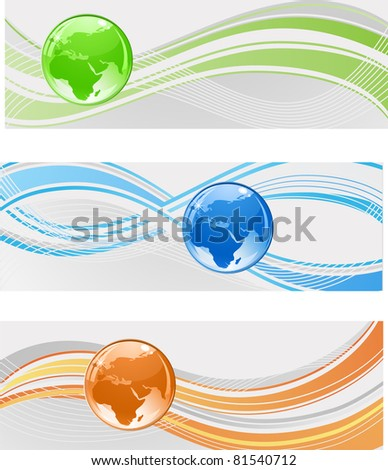 banners with globe - stock vector