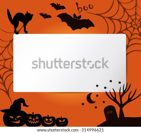 Banners with halloween vector symbols, attributes and characters. Vector frame. Halloween background with place for text. Elements for your layout. Halloween background with silhouettes.  - stock vector