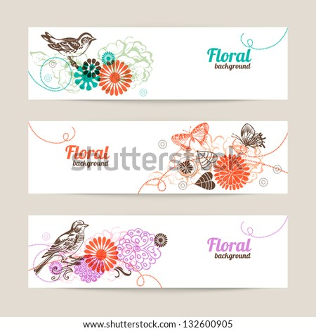 Banners with hand drawn floral background - stock vector