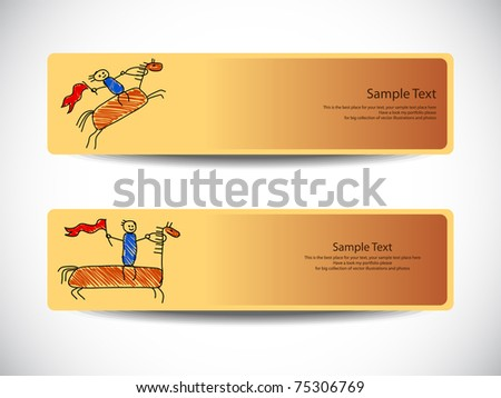 Banners with hand drawn horses Vector. Visit my portfolio for big collection of banners - stock vector