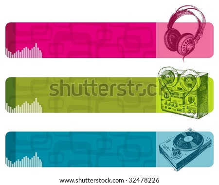 Banners with hand drawn musical equipment - stock vector