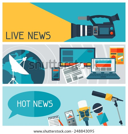 Banners with journalism icons. Mass media and press conference concept symbols in flat style. - stock vector
