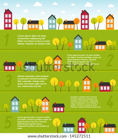 Banners with small town. Vector illustration. - stock vector