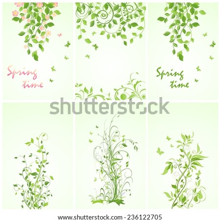 Banners with spring trees  - stock vector
