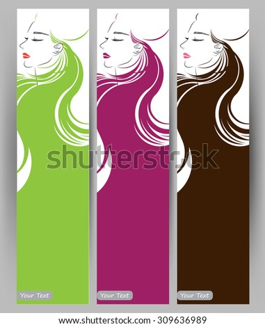 Banners with stylish of beautiful  long hair woman ,cards design template on white background - stock vector