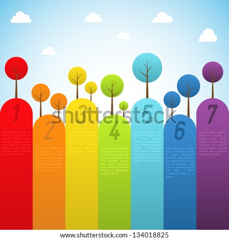 Banners with trees. Vector illustration.
