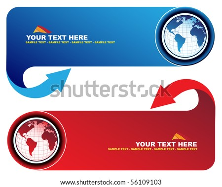 Banners world map arrow stock vector 56109103 shutterstock banners with world map and arrow gumiabroncs Image collections