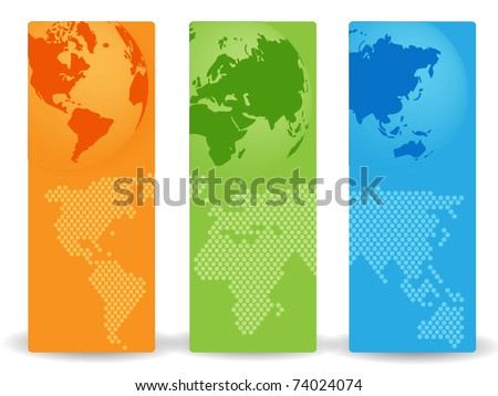 Banners with world maps - stock vector
