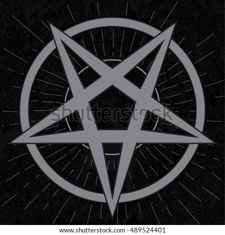 Baphomet Sign Stylish Pentagram Star Rays Stock Vector Royalty Free