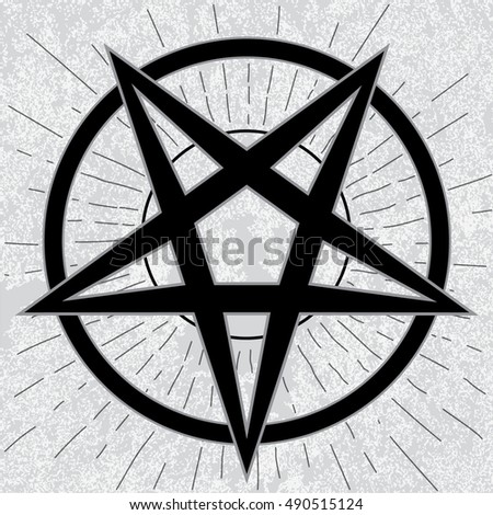 Baphomet Sign Stylish Pentagram Star Rays Stock Vector 2018