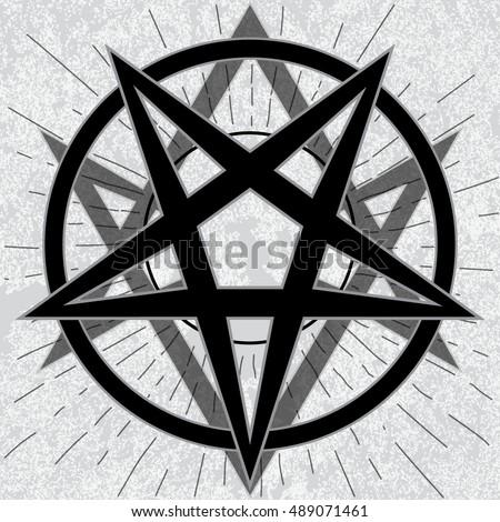 Baphomet Sign Thelema Hexagram Stylish Pentagram Stock Vector
