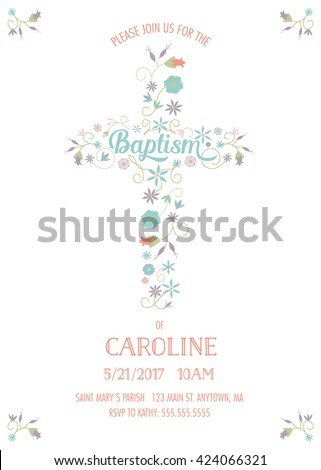 Baptism christening communion religious occasion invite stock vector baptism christening communion religious occasion invite invitation template with cross and flowers stopboris Image collections