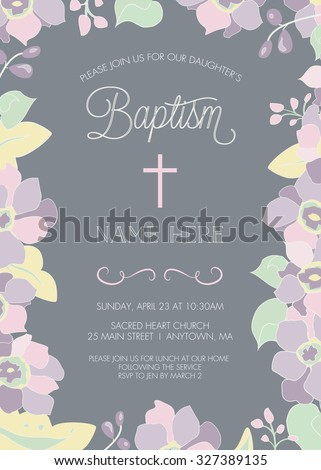 Baptism, Christening, First Holy Communion, Confirmation Invitation Template - Floral Border - Vector - stock vector