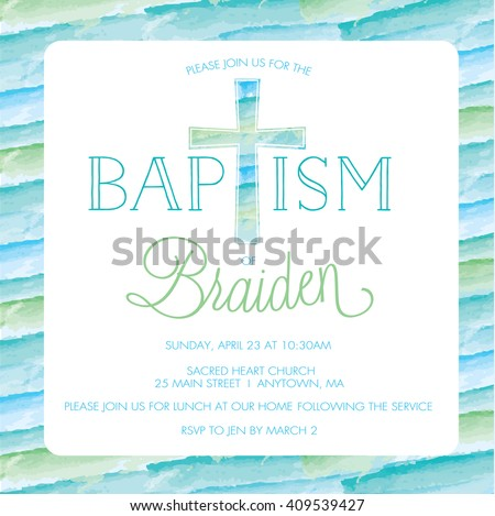 Baptism christening invitation card invite template em vetor stock baptism christening invitation card invite template boy watercolor cross stopboris Image collections