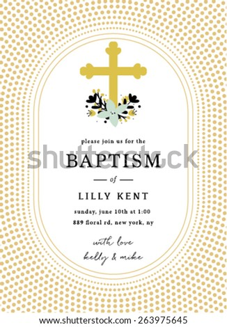 Baptism Invitation Template Design with Cross - stock vector